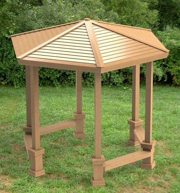 Hexagonal garden gazebo with benches building plans diy for Gazebo house plans