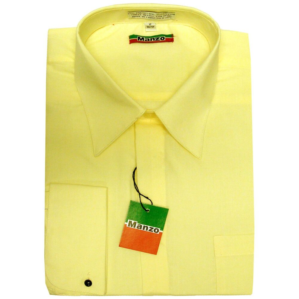 New yellow fly front french cuff men 39 s dress shirt long for Mens dress shirts with cufflink holes