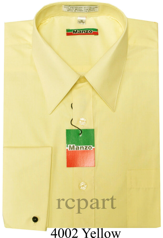 New yellow men 39 s french cuff dress shirt long sleeve work for Mens dress shirts french cuffs