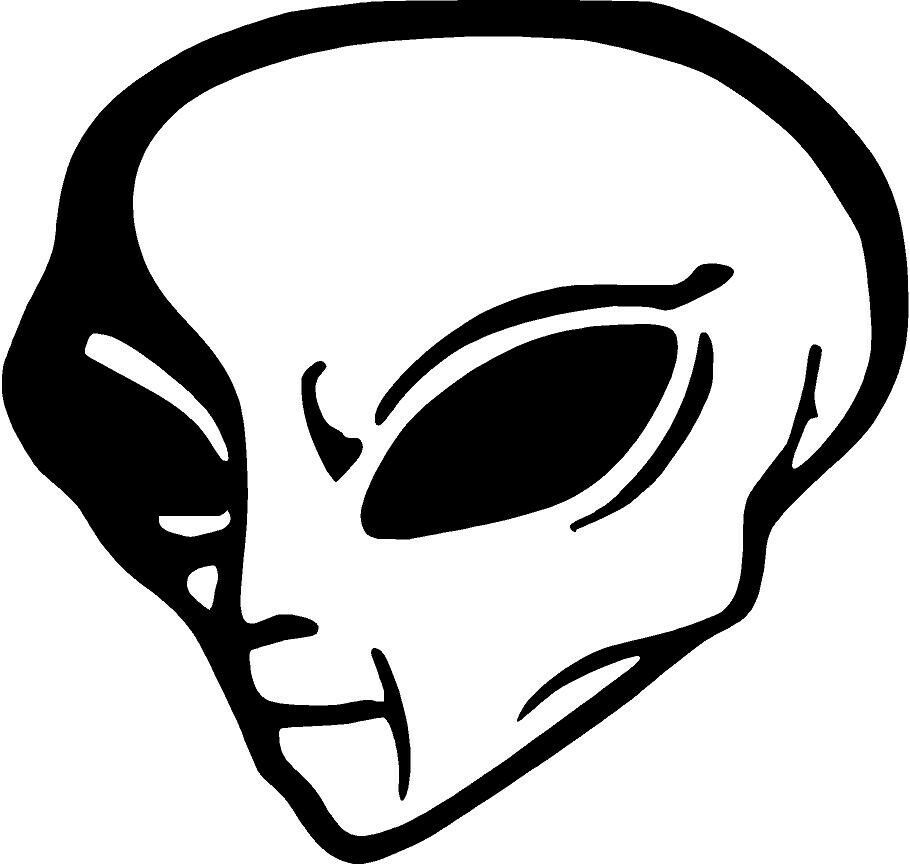 Alien ufo outer space man head area 51 moon mars vinyl for Space decals