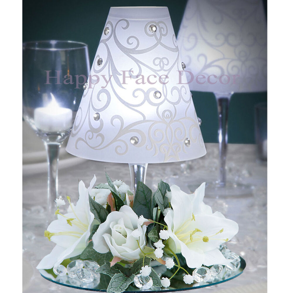 Centerpieces wine glass lamp shade silk flower rings