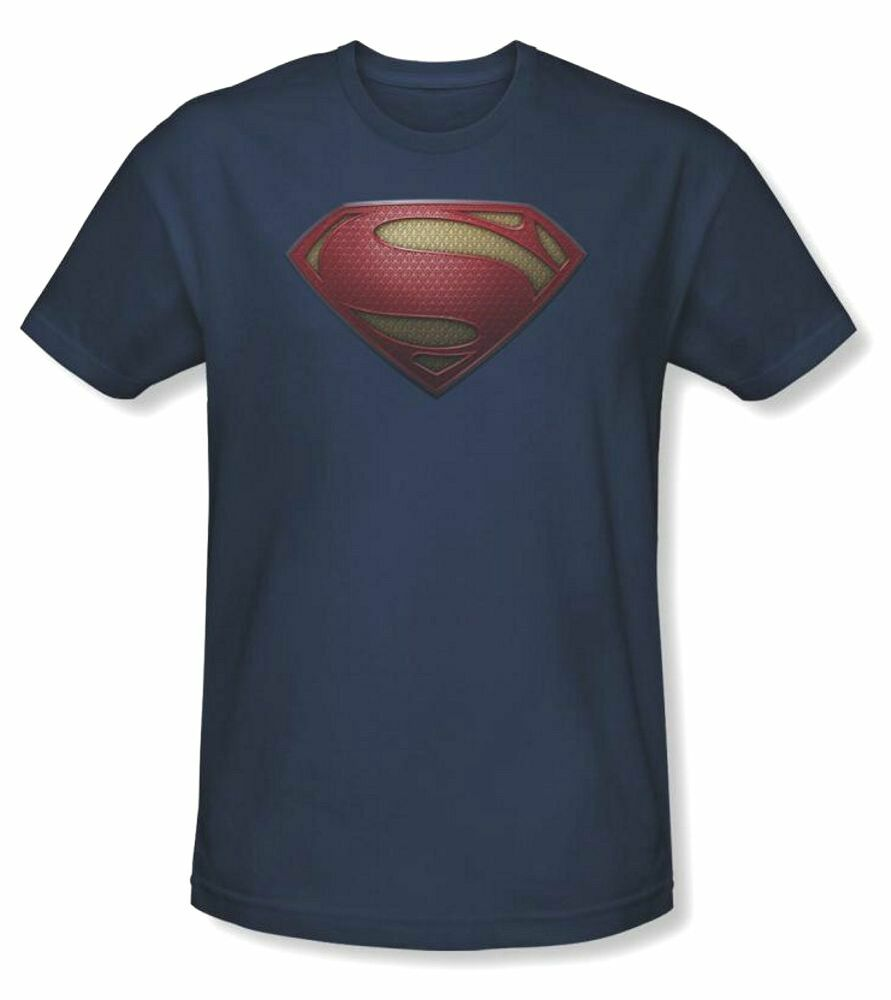 Authentic superman man of steel mos shield logo dc comics for Man of steel t shirt online