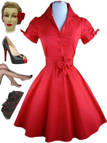 50s style red tie sleeve full skirt rockabilly plus size for Wedding dresses pin up style