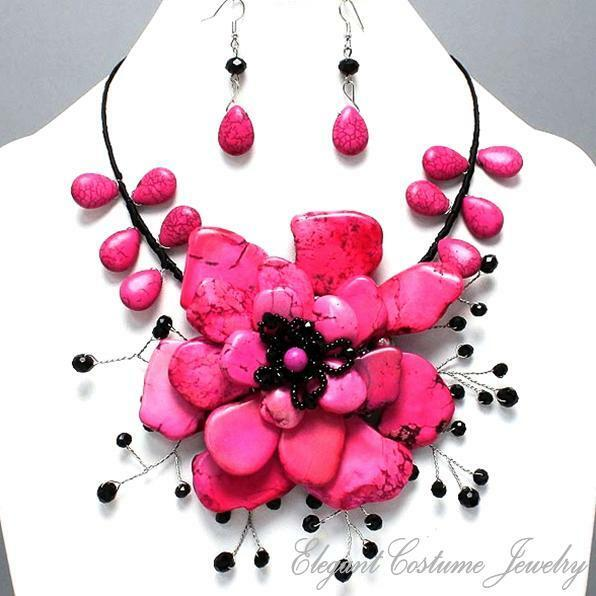 hot pink black stone chunky big flower necklace set