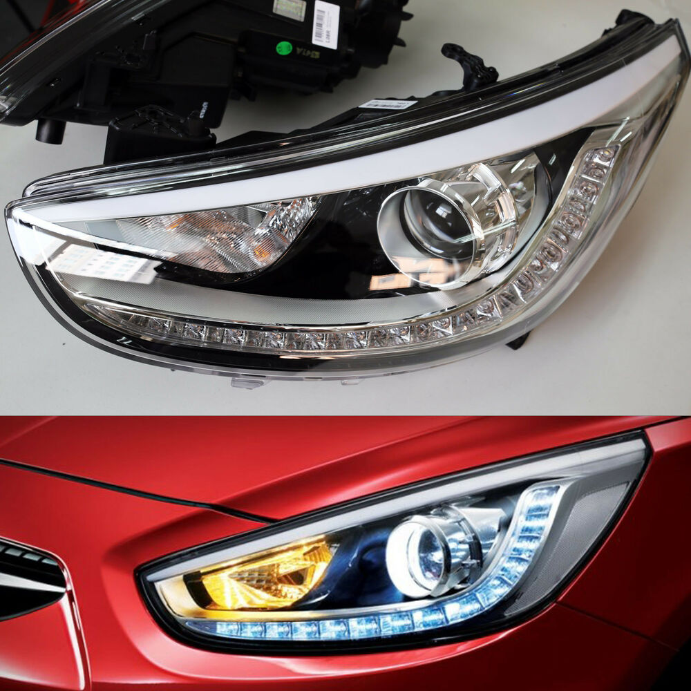 Led Projection Day Light Head Lamp Pair Hyundai Accent Solaris 2011 2015 Ebay