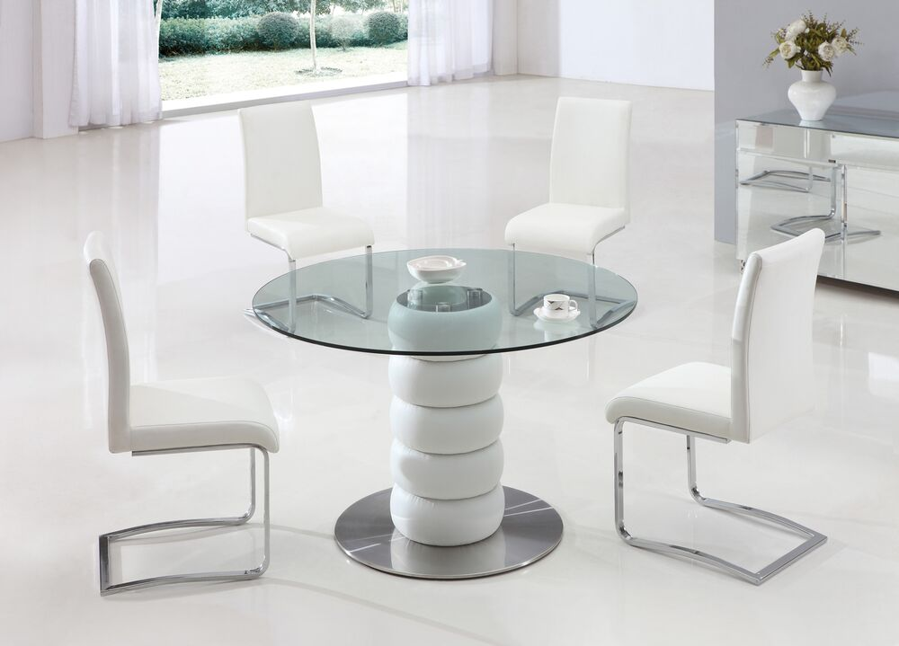 Lugano glass leather dining room table and 4 chairs set for 4 dining room chairs ebay