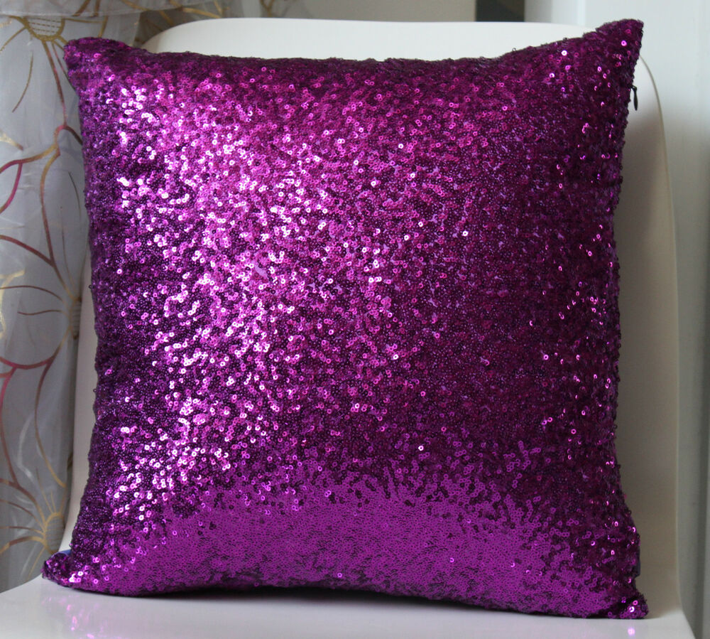 Super Shine Small Sequins PILLOW CASES CUSHION COVERS purple eBay