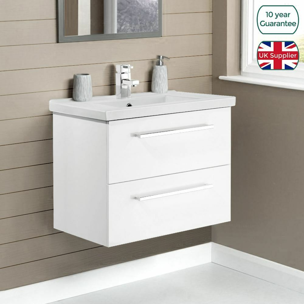 600mm Wall Hung White Gloss Finish Bathroom Basin Sink Cabinet Vanity Unit Ebay