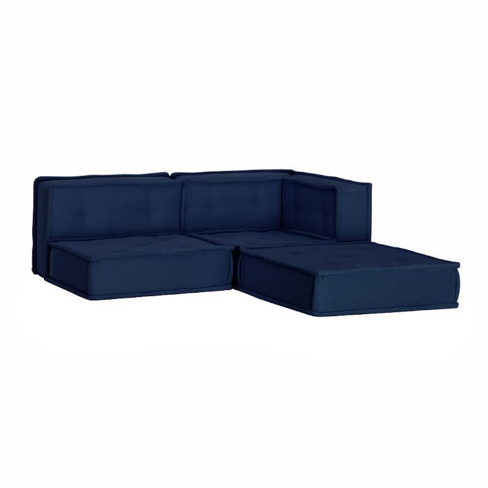 pottery barn teen cushy lounge sectional sofa navy faux suede ebay