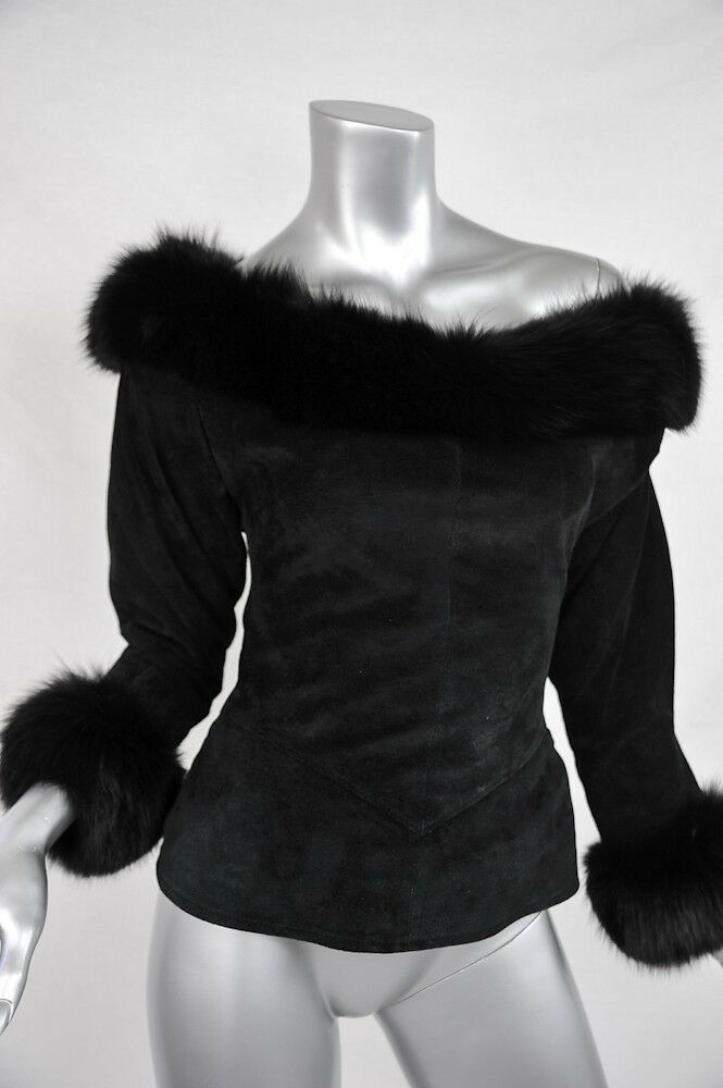 JEAN CLAUDE JITROIS Black OFF SHOULDER Suede+GENUINE FUR ...