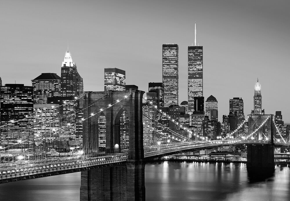 Wall mural new york city black white photo wallpaper for Black and white new york mural wallpaper