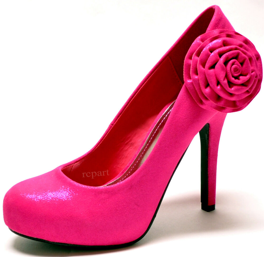 Hot Pink Wedding Shoes With Rhinestones