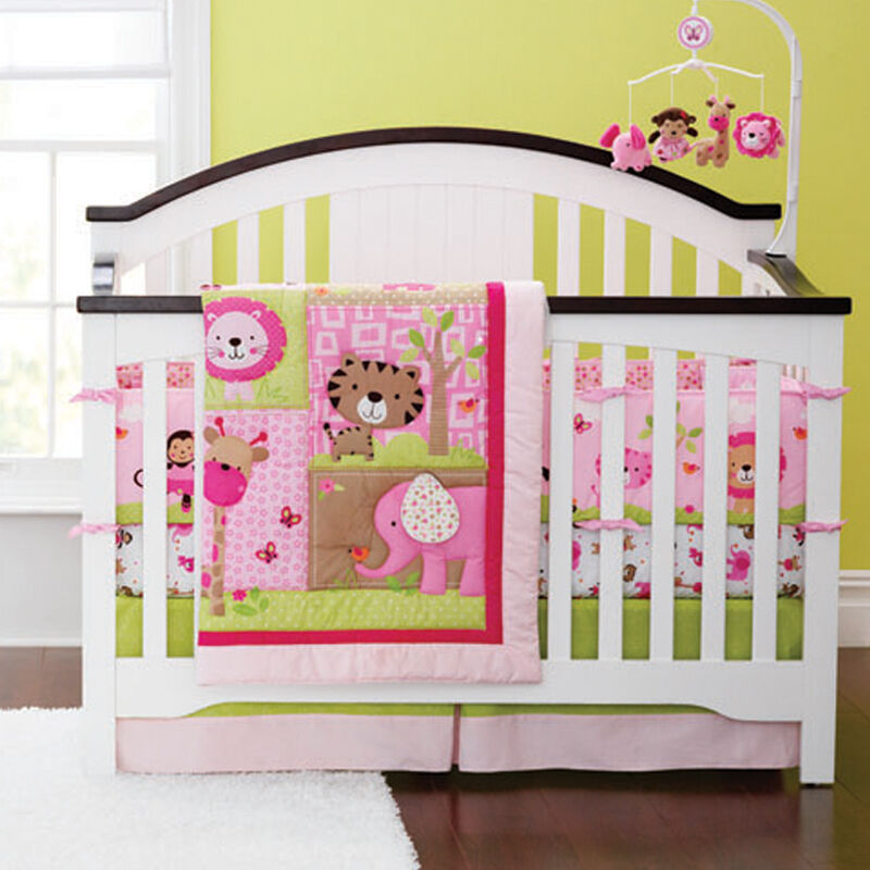 New 4pcs Baby Girl Crib Cot Bedding Set Quilt Bumper Sheet