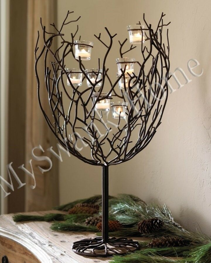 Large twig candle centerpiece votive holder neiman marcus