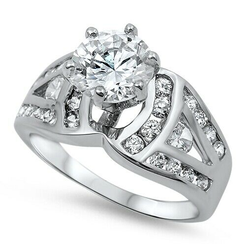 925 sterling silver cut clear cz wedding promise