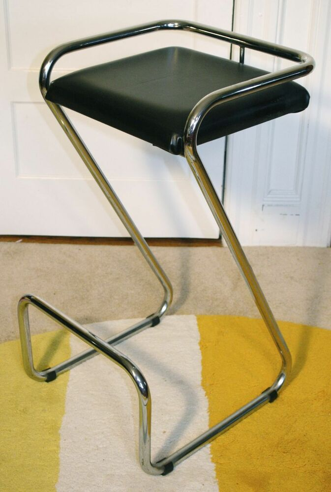 Vintage Chrome Quot Z Quot Leg Bar Stool Bent Tube Mid Century