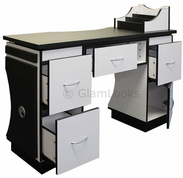Ascot nail technicians table desk beauty station for salon for Beauty table for sale