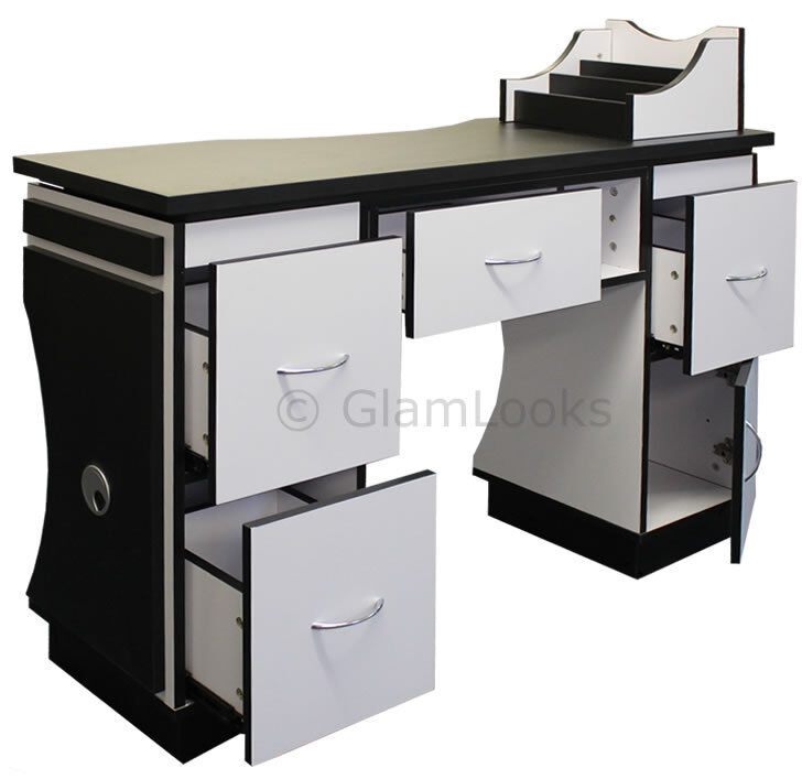 Ascot nail technicians table desk beauty station for salon for Manicure tables with ventilation