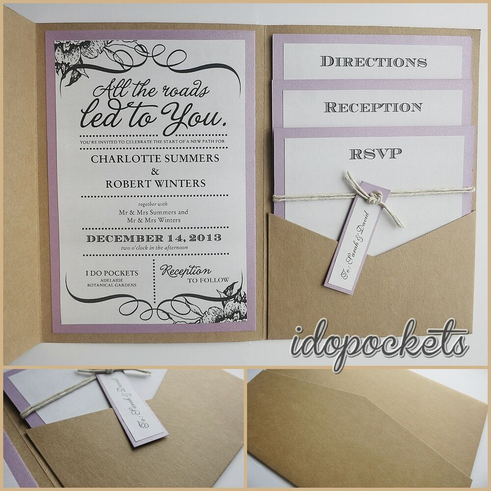 kraft wedding pocket invitations diy pocketfold envelopes brown invite