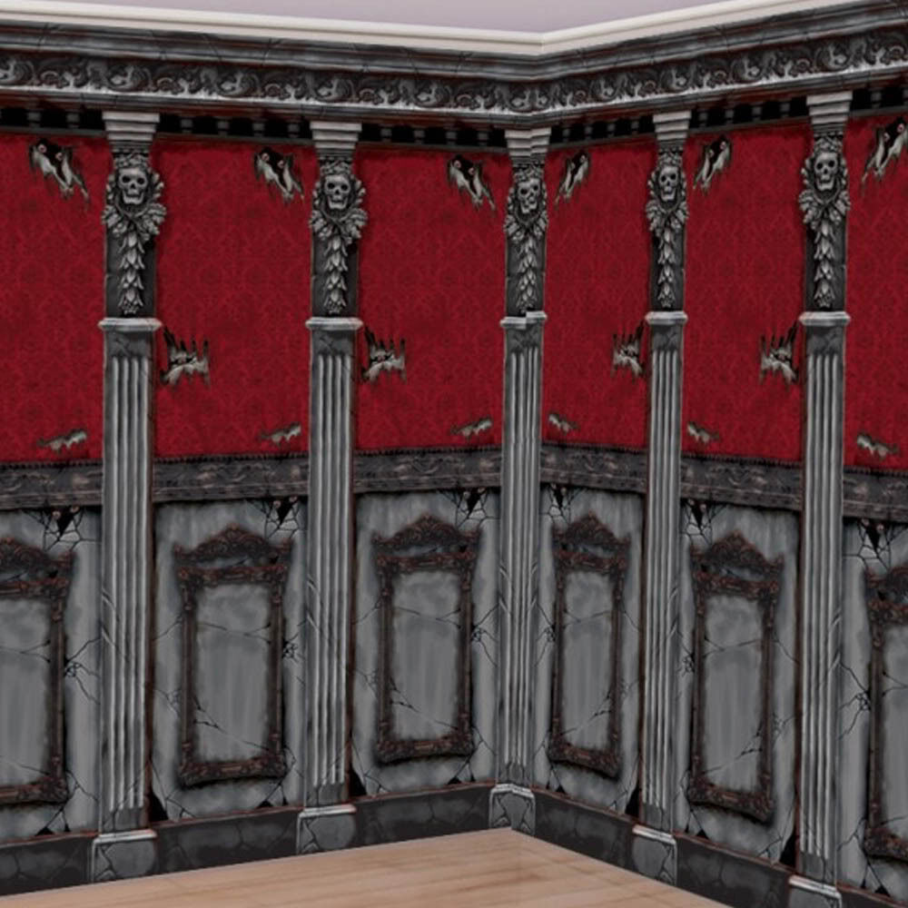 Gothic Halloween Scene Setter HAUNTED MANSION Room Roll Decoration ...