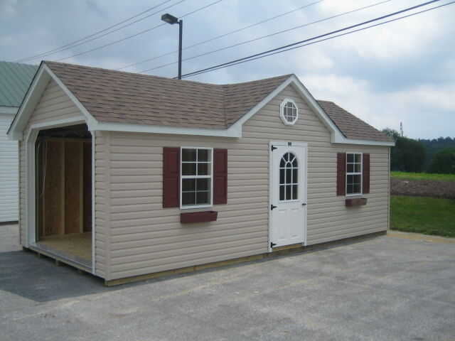 Amish Made Garage : Amish built a frame garage storage shed vinyl with