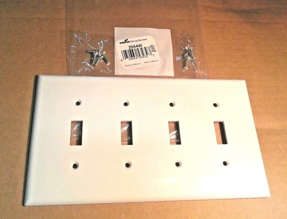 Wall Plate Light Cover : WHITE 2054W COOPER 4 GANG WALL PLATE LIGHT SWITCH COVER NEW eBay