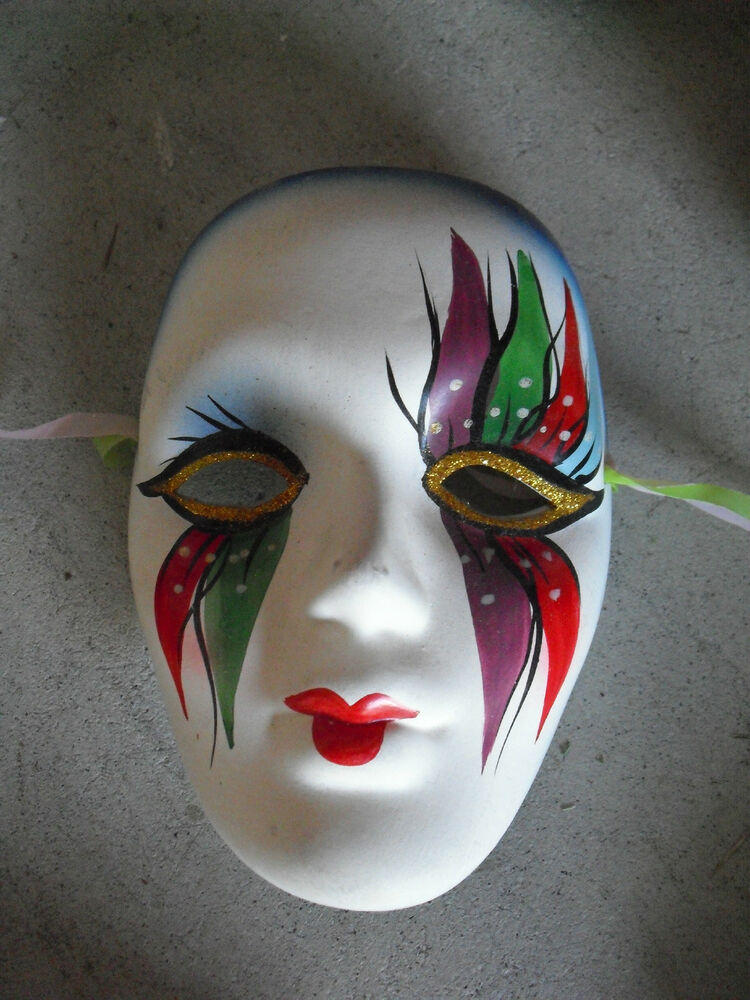 COOL Heavy Ceramic Hand Painted Face Mask Wall Hanging #2