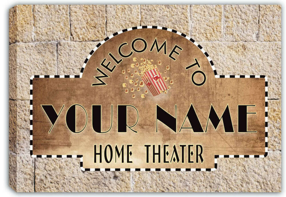 Scph1 tm personalized custom home theater stretched canvas for Personalized home decor