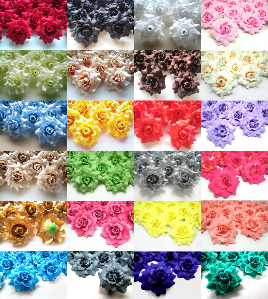 Real Vs Fake Flowers Wedding: Roses Artificial Silk Flower Heads Wholesale Bulk 1.75