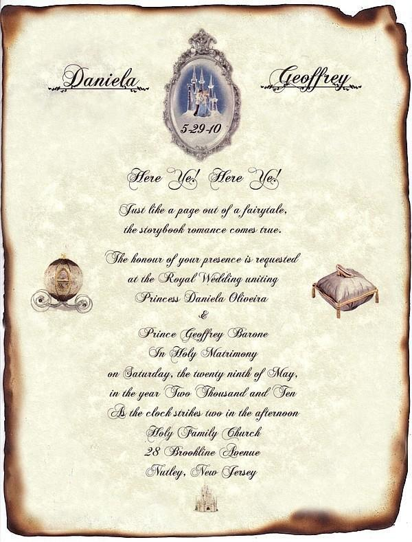 Qty 50 fairytale castle cinderella wedding scroll for Cinderella invitation to the ball template