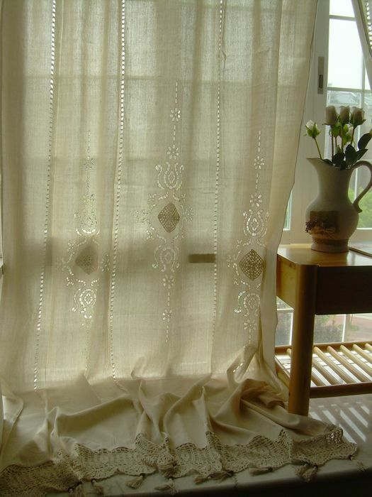1 Pc Country Cotton Linen Crochet Lace Curtain Panel Drape