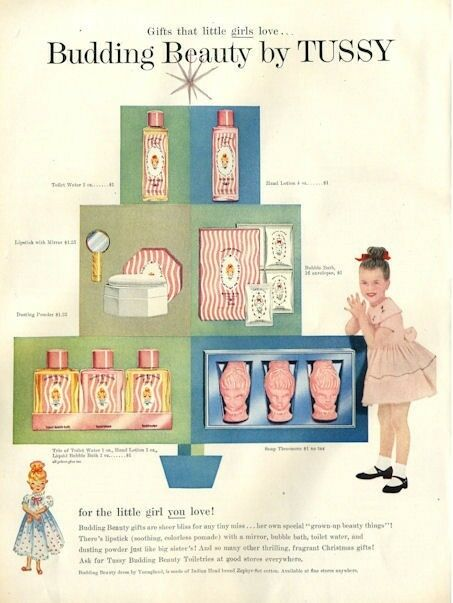 1955 budding beauty by tussy pretty vintage ad dressing for Bathroom accessories ads