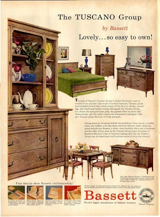 1957 Bassett Furniture Great Detailed Furniture Vintage