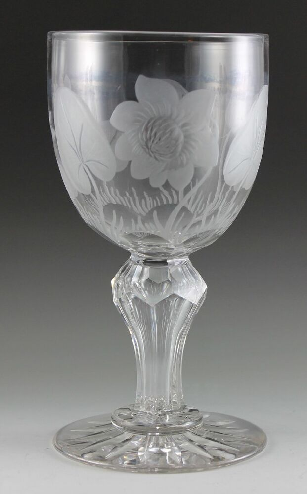 fine crystal early sinclaire goblet with pond lillies cut