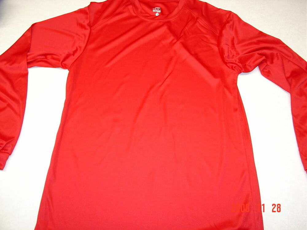 new badger sports dri fit crew long sleeve shirt small red