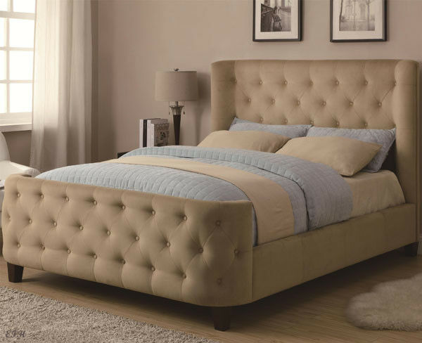 new garver contemporary tan microfiber tufted upholstered wing queen king bed ebay. Black Bedroom Furniture Sets. Home Design Ideas
