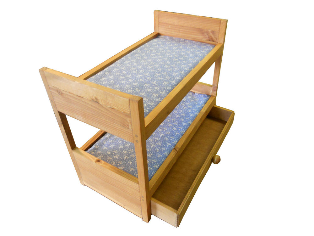 All wood doll bunk bed with storage drawer and blue mattress ebay - Bunkbeds with drawers ...