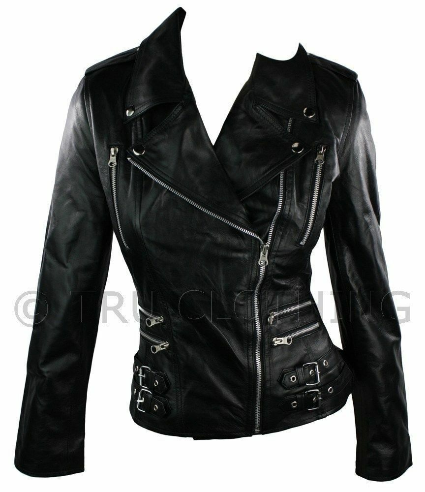 Ladies fitted leather jacket