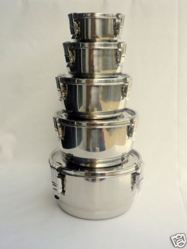 Airtight Stainless Steel Cabinet ~ Airtight stainless steel food storage container set ebay