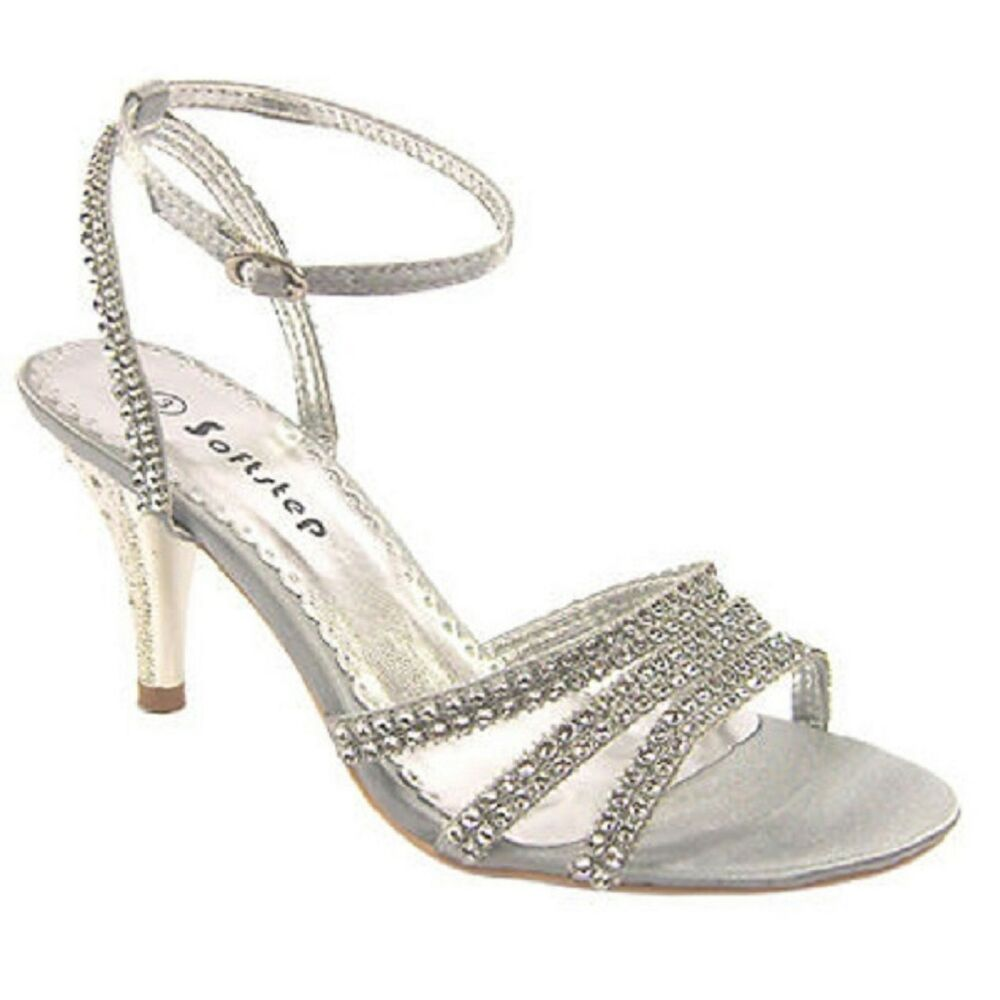 Bridal Shoes Silver: WOMEN'S PARTY SANDALS DIAMANTE EVENING PROM WEDDING BRIDAL