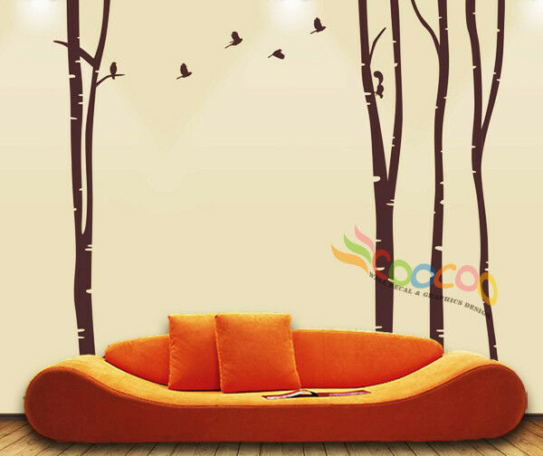 Wall decor decal sticker large birch tree trunk forest for Tree trunk wall art