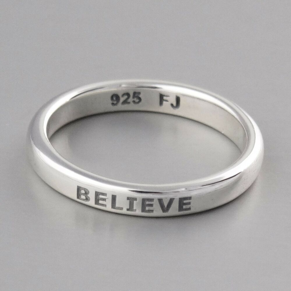 Believe Ring Engraved Stackable Ring In Sterling Silver