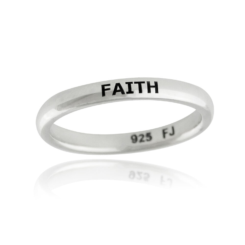 faith ring engraved stackable ring 925 sterling silver. Black Bedroom Furniture Sets. Home Design Ideas