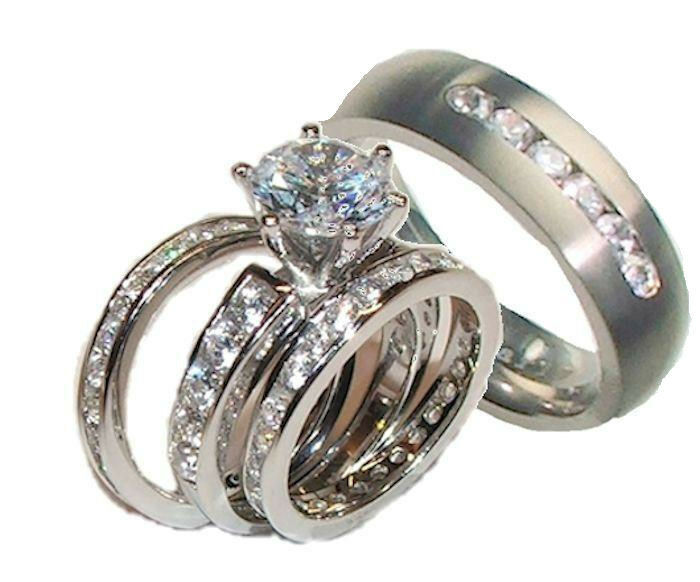 his and hers wedding ring sets his and hers wedding rings 4 cz ring set sterling 4812