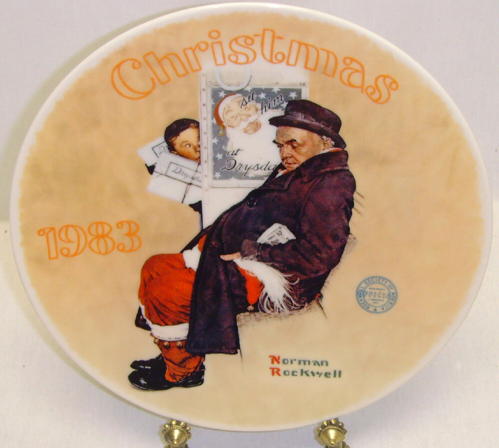 Christmas 1983 Norman Rockwell Vintage Plate Edwin Knowles - Santa ...