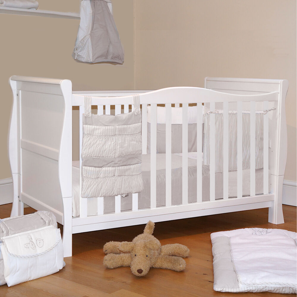 4baby White Wood 3 In 1 Sleigh Cot Baby Cotbed Converts To