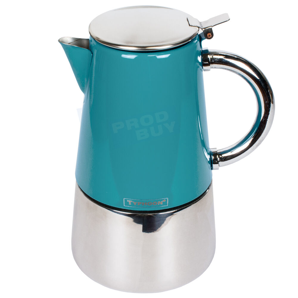 Teal Blue Stainless Steel Novo Espresso Italian Coffee Maker Hob Stove-Top Pot eBay