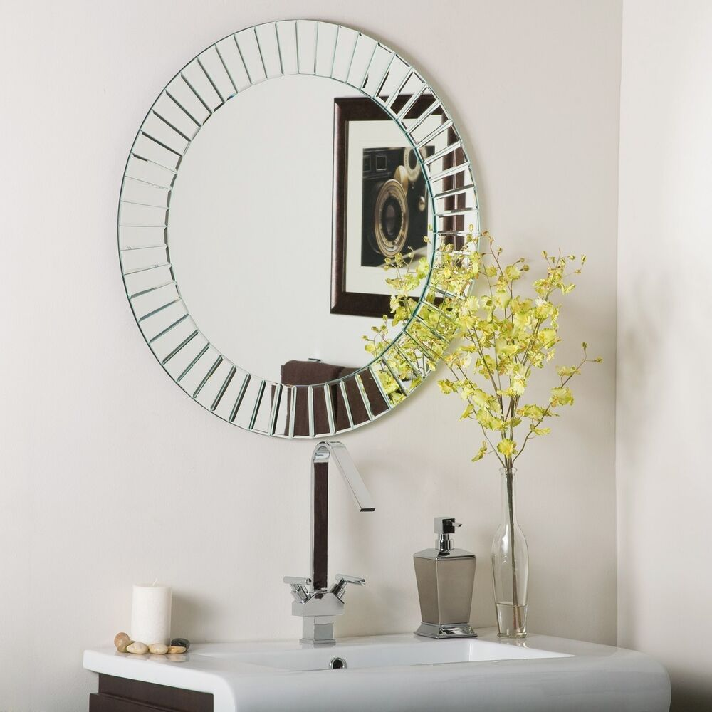 frameless beveled glow wall mirror modern bathroom ebay. Black Bedroom Furniture Sets. Home Design Ideas