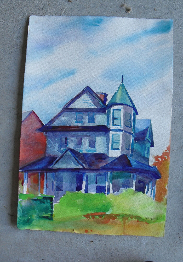 Original Watercolor Painting Of Victorian House Look Ebay