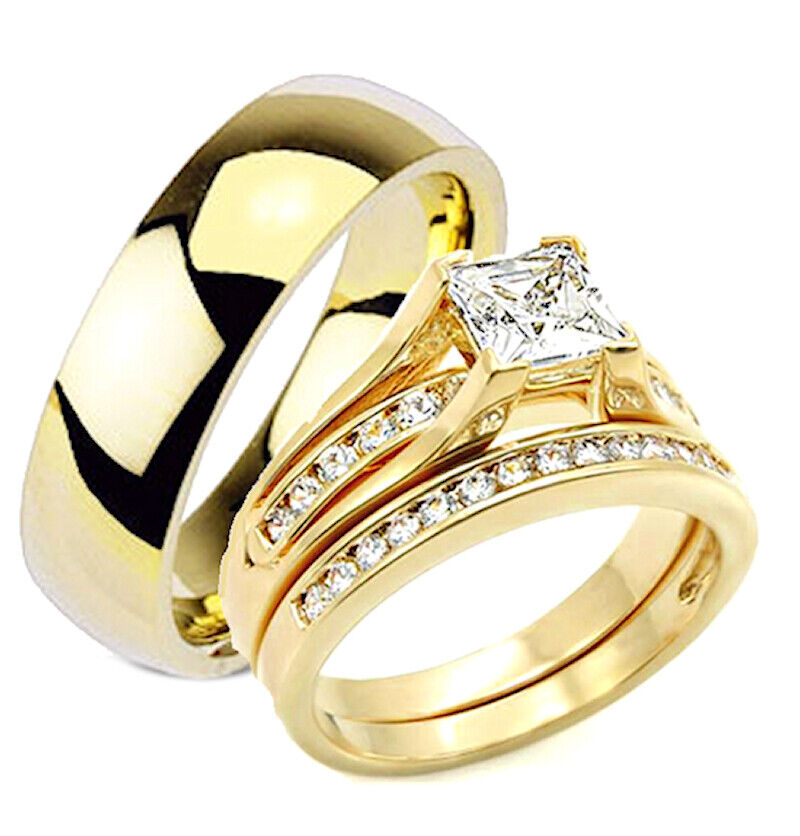 yellow gold wedding rings sets for his and her his and hers wedding rings 3 pc engagement wedding ring 1519